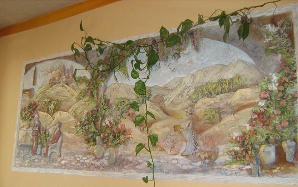 196Картина на стене из шпаклевки