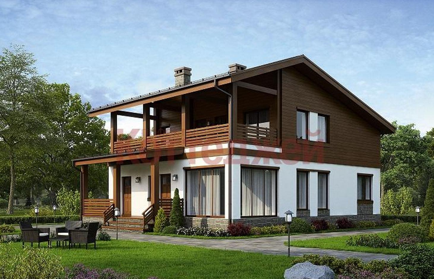 Двухэтажный дом с террасой и балконом фото.