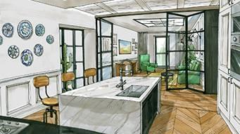 Комфортный минимализм: гостиная – в спальне, гардеробная – на кухне